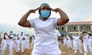 Nurses during a Zumba session in Nairobi, Kenya