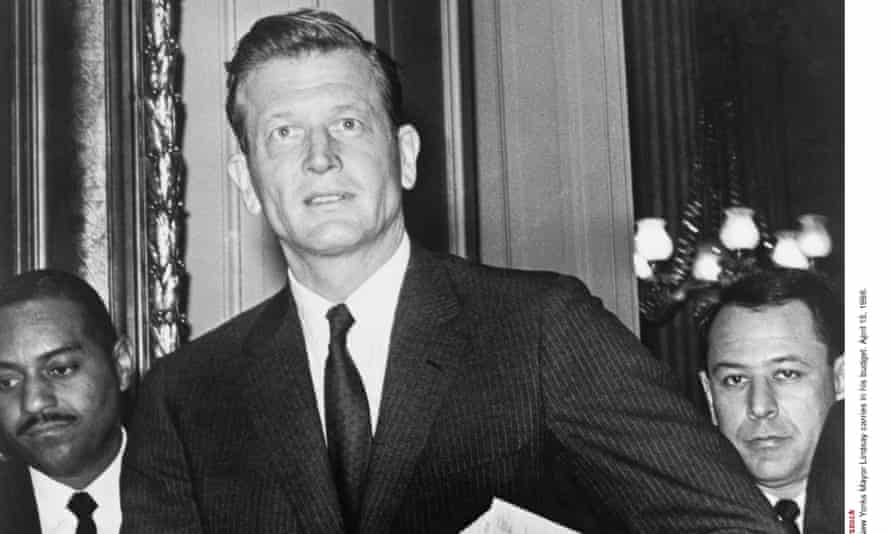 New York Mayor John Lindsay carries in his budget on 15 April 1966.