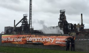 A Save our Steel banner outside the steelworks in Port Talbot