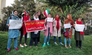 Iranian women protesting outside the stadium