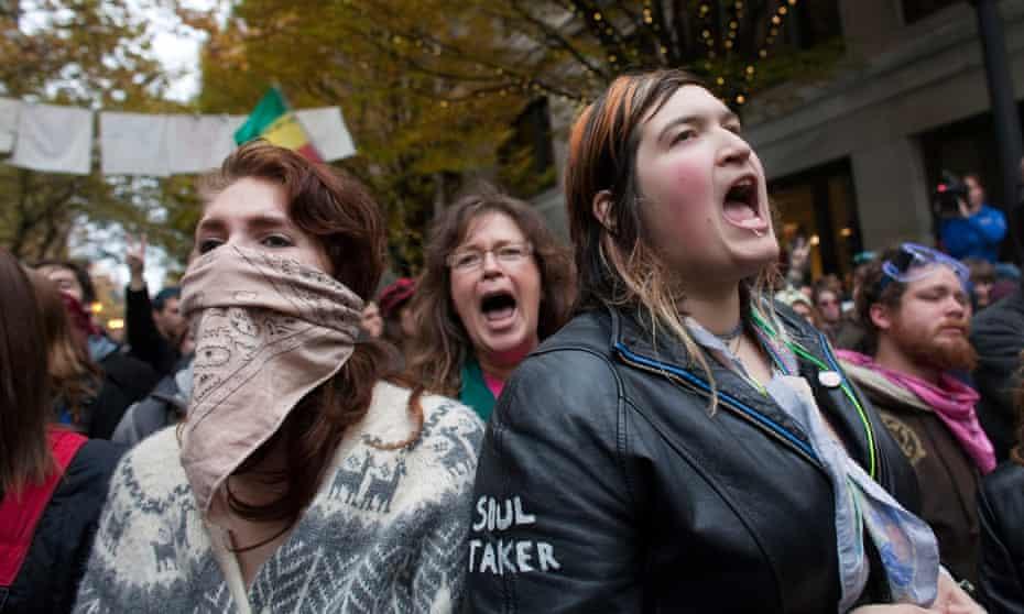 Women protesting at the Occupy Portland encampment in Portland, Oregon.