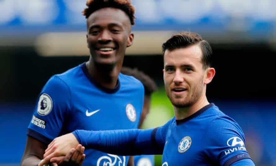 Ben Chilwell (right) celebrates with Tammy Abraham after scoring for Chelsea against Crystal Palace on Saturday.