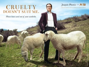 Joaquin Phoenix in a Peta advert.
