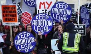 Activists shout slogans before the annual March for Life passes by the supreme court in January 2015.