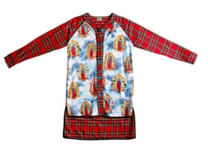 A modern take on the baseball jersey by Amy Page DeBlasio, made from red cotton plaid and satin polyester with plastic skull buttons