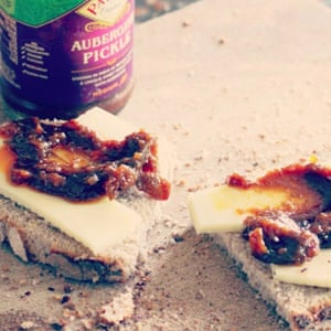Tom Hunt: When I'm starving I … go for a cheese and pickle sandwich, with Patak's aubergine pickle. I love salty, crystallised, West Country cheddar.