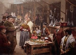 Street food in the Strada del Porto in Naples, Italy. 1899