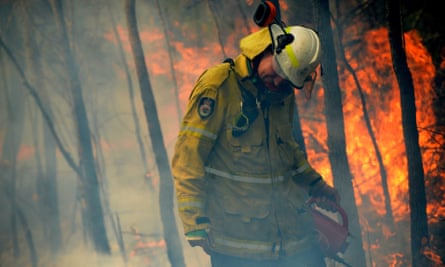 A firefighter backburning in Mangrove Mountain during vast bushfires that raged for weeks during the crisis.