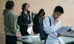 Students get their A-level results at a further education college in London