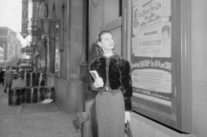Vanderbilt pursued an acting career, and is seen looking at a billboard for The Time of Your Life, her 1955 film.