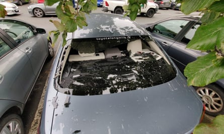 The damage that Kevin O'Brien caused to his own car in Dublin by hitting a huge six during a Twenty20 match on Thursday.