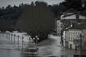 Flooded houses and streets in La Reole after the River Garonne overflowed its banks following recent heavy rainfall.