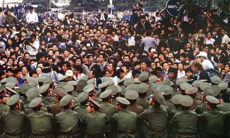 Protests in Tiananmen Square in 1989.