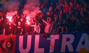 Sparta Prague fans light flares during their Europa League match against Schalke 04 in Germany in October 2015.