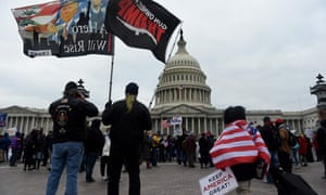 Supporters of Donald Trump hold a rally outside the US Capitol as they protest the upcoming electoral college certification of Joe Biden as US president.