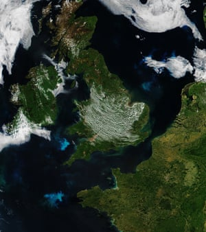 Phytoplankton blooms in the waters around Britain and France.