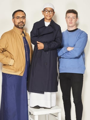 Ben Murphy, 19, and Mohamed Sidat, both Local Government Officers; and Zaydaan Sidat, 9Harrington jacket, £109, navy coat, £139, and blue sweatshirt, £39