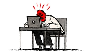 Illustration by David Foldvari of Prince Philip furiously reading the internet.