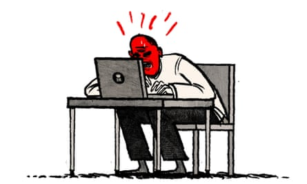 Illustration by David Foldvari of Prince Philip furiously reading the internet.