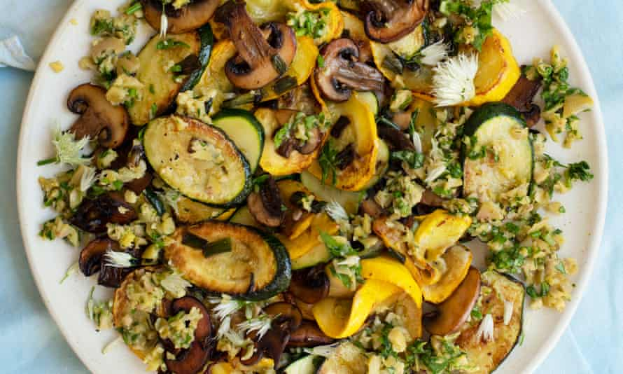'Even the largest courgettes are good cooked with olive oil and garlic': courgettes and mushrooms