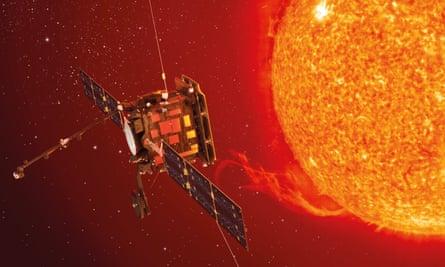 artists rendering the esa solar orbiter in operation
