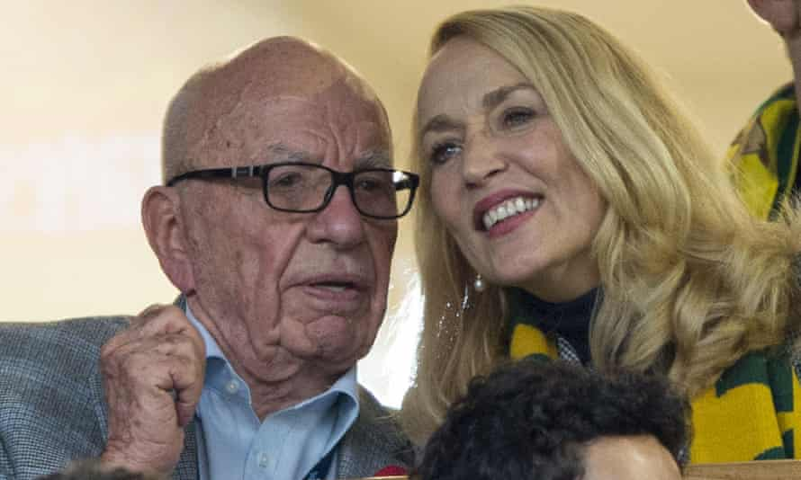 Rupert Murdoch and Jerry Hall at the Rugby World Cup final.