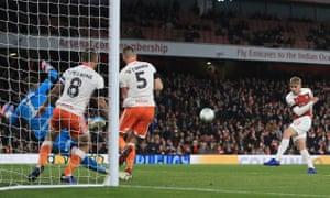 Emile Smith Rowe of Arsenal scores their second goal.