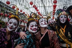 Participants perform during Grebeg Sudiro festival on February 3, 2019 in Solo City, Central Java