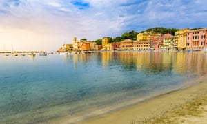 Sestri Levante - Paradise Bay of Silence with its boats and its lovely beach, Genoa in Liguria, Italy,