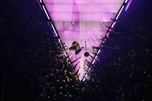 Adam Levine on the stage