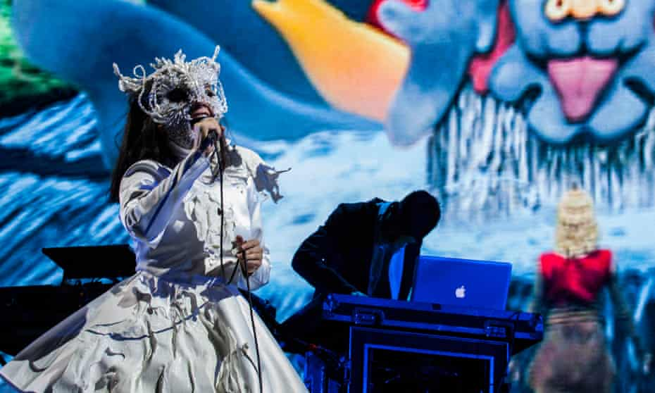 Björk and Arca perform onstage at the 2017 Ceremonia Festival in Toluca, Mexico.