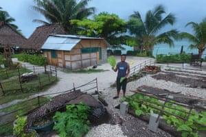 John Kaboa at his Tebero Te Rau Bungalow resort on the island of Abaiang.