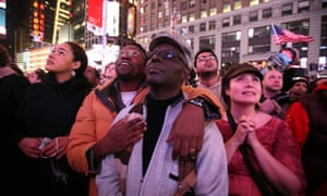 Supporters celebrate after watching the 2008 presidential election results in Times Square.
