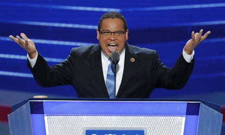 Keith Ellison speaks during the first day of the Democratic national convention in Philadelphia in July.