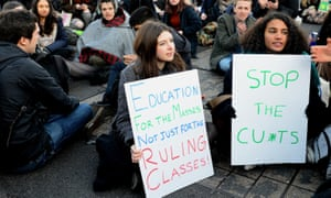 Students in Westminster protest against maintenance grant cuts in January 2016.