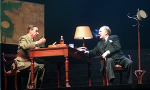 Robert Hardy as Churchill, with Jacques Boudet as General Charles de Gaulle, during a rehearsal for Celui Qui A Dit Non, in Paris, 1999.