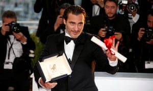 Joaquin Phoenix with his best actor award for You Were Never Really Here.