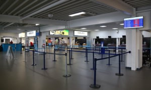 Empty check-in desks at Exeter Airport today