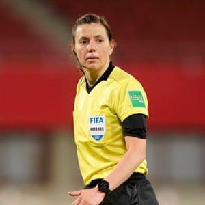 Referee Kateryna Monzul looks on in Vienna.
