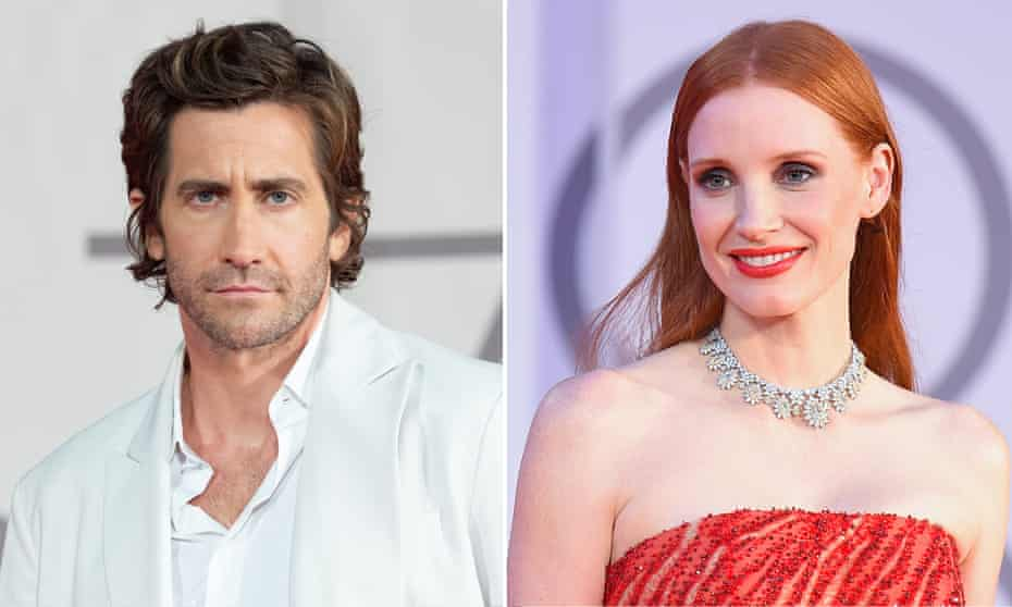 Jake Gyllenhaal and Jessica Chastain, whose films The Guilty, The Forgiven and The Eyes of Tammy Faye premiere at Tiff.