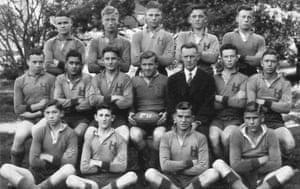Fourteen-year-old Cecil Ramalli (middle row, second from left) and his Hurlstone Agricultural High School second XV team in 1934.