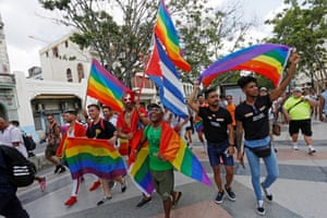 LGBT rights activists participate in an annual demonstration against homophobia and transphobia in Havana, Cuba