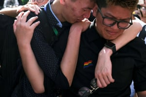 Supporters of same-sex marriage celebrate its legalisation in Taiwan