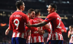 Atlético Madrid celebrate victory over Copenhagen in the round of 32.