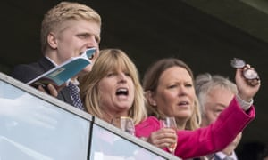Rachel Johnson and her son Oliver Dawnay at Ascot.