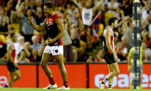 Neville Jetta celebrates at Etihad Stadium in Melbourne on Saturday.