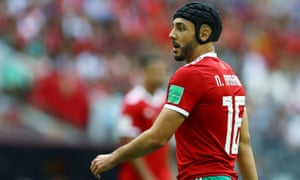 Nordin Ambrabat threw off his protective cap after 16 minutes against Portugal.