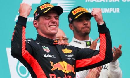 Max Verstappen celebrates his 2017 win in Malaysia