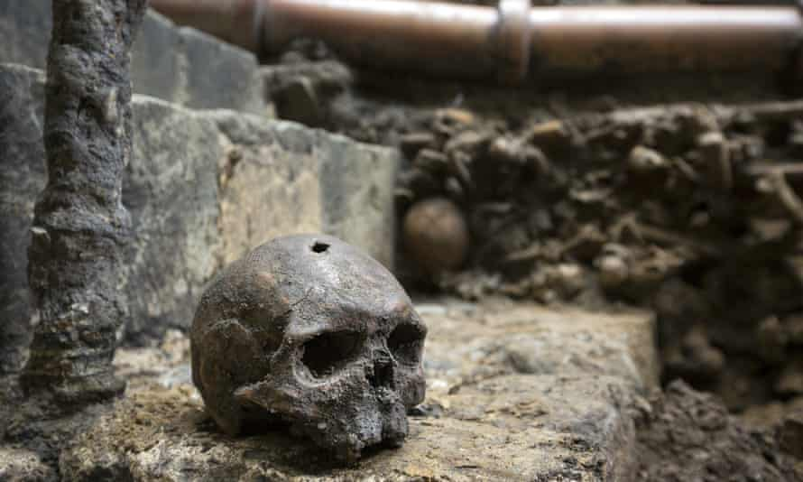 Some of the skulls found among the footings of Westminster Abbey's south transept have square holes left by the pickaxes of of 13th century workman.