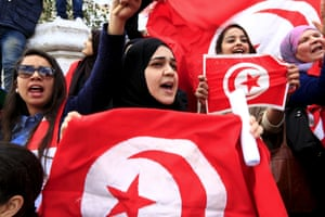 Tunisian protesters at independence day celebrations, March 2015 .